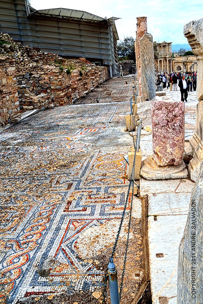 "The old mosaic finished sidewalk still exist. The structure on the left protects the restoration for ""Terrace Houses Area 2""."