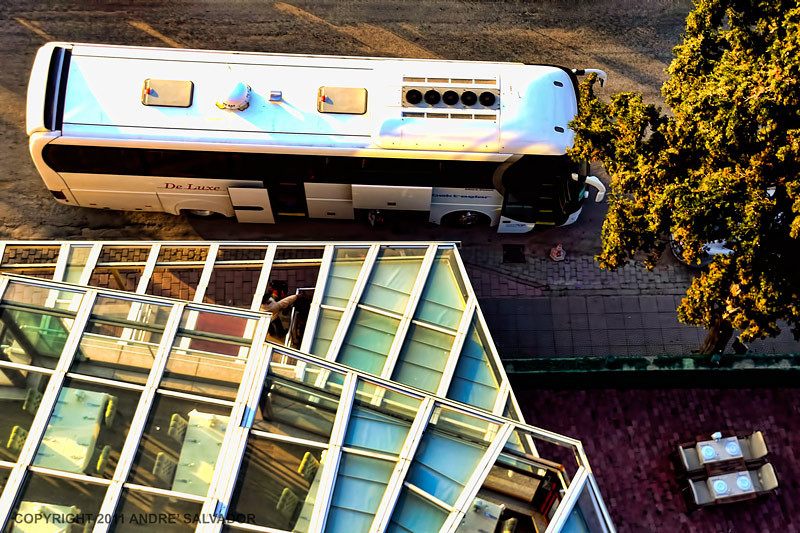 Looking down from our balcony we see the glass roof of the restaurant below.