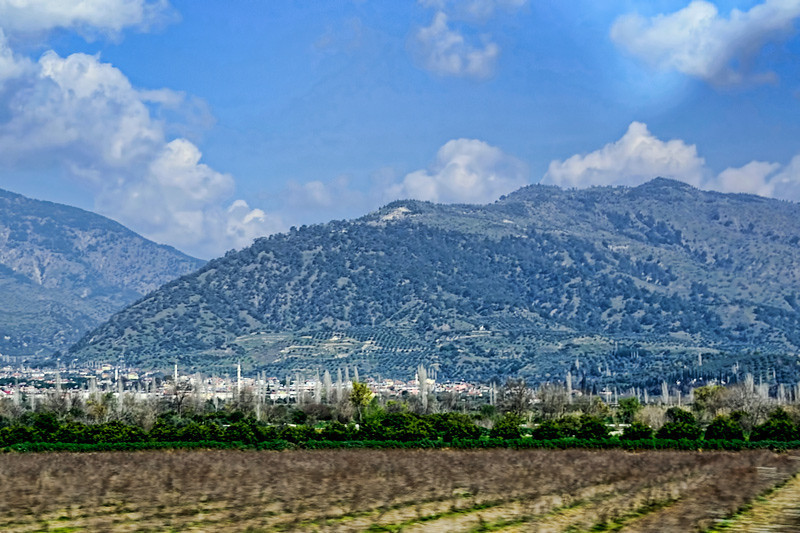 As we drove towards Pamukkale, I took this picture of Mount Koressos, where the house of Virgin Mary is located.
