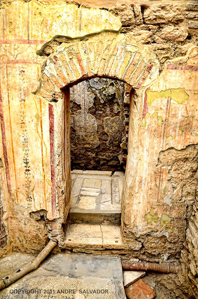 AN ENTRNCE TO A LATRINE. LATRINES ARE FURNISHED WITH BENCHES ON THREE SIDES. THE EXCREMENTS ARE DRAINED BY RUNNING WATER IN A CHANNEL. THE WALL PAINTINGS OF THIS LATRINE WAS COVERED WITH NUMEROUS GRAFITTI WHICH ALLUDE IT TO THE HOUSE OWNER.