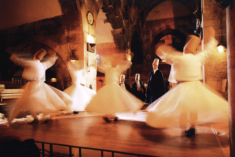 The whirling images shown are from a pamphlet that I scanned and digitized for this gallery. Photography is not allowed during the performance.