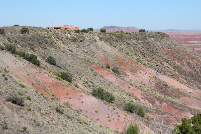 A telephoto view of the Painted Desert Inn, from Tawa Point.