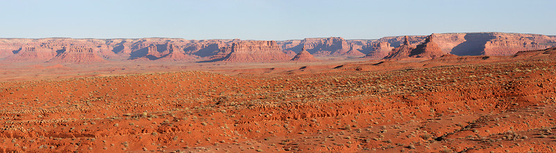 A multi-image panorama of some of the northeastern part of Monument Valley.