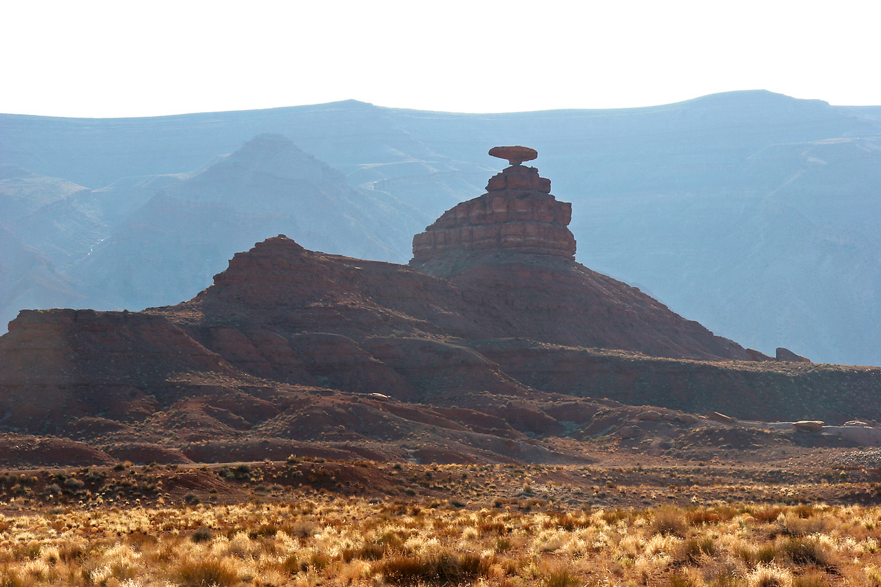 The formation known as Mexican Hat, near the town of the same name.