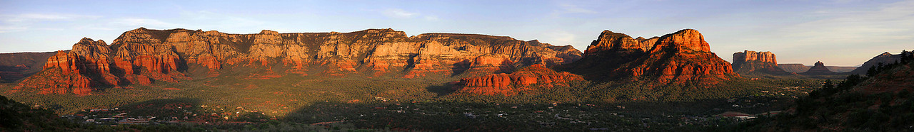 8 image panorama over Sedona in late afternoon light, taken from the Sedona airport.