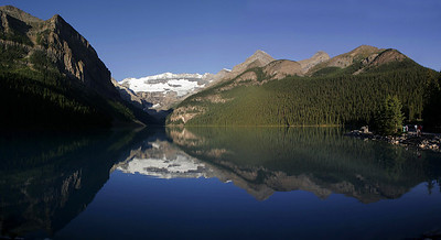 Lake Louise panorama.  The still water and lack of people are obtainable only in the early morning!