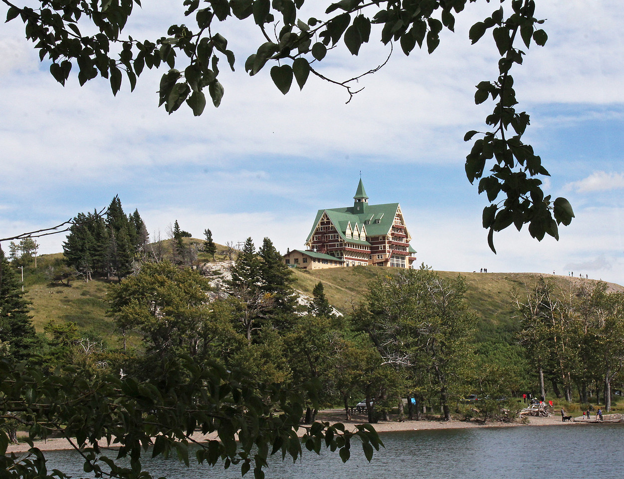The Prince of Wales Hotel sits on top of a bluff at the north end of the lake.
