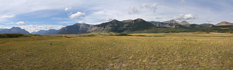 A panorama in the north end of the Waterton Valley.  There is a large Bison paddock in this area which we will visit at the end of our stay.