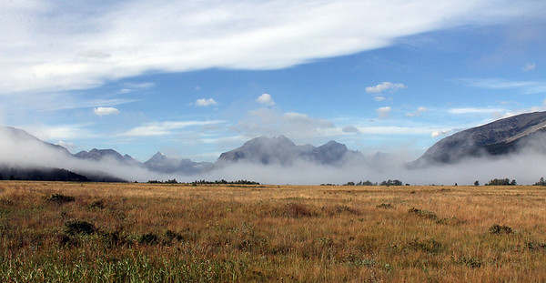 As we leave the St. Mary's area in Glacier National Park we see this scene of cold fog laying low over St. Mary's Lake.