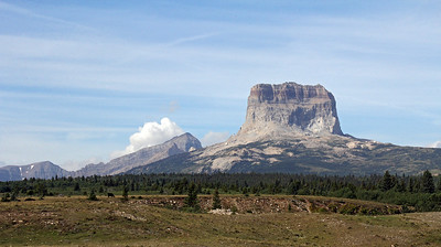 Chief Mountain is still in the US, near the Canadian border.