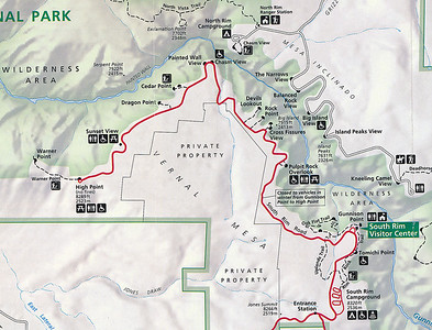 Much of the large park is rather inaccessible.   Although you can visit the north side of the canyon, the roads are unpaved and it's a long drive to get there.  Most visitors, including ourselves, drive the south-west rim road (in red on this map).