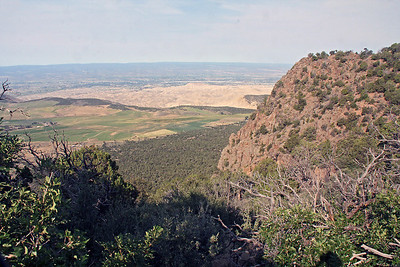 After checking out the visitor center, we drove to the far end of the rim drive road and started on a hike out to Warner Point.  This is view to the south west into the Uncompahgre Valley, whose agriculture is supported by Gunnison River water delivered via a tunnel.