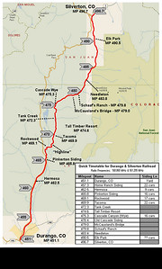 The route travels 2,800 feet upwards from Durango to Silverton.