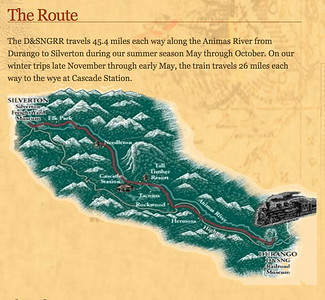 Their website map showing the route of 45 miles along the Animas River from Durango to Silverton.