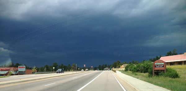 As we drove toward Mueller State Park in the Rockies above Colorado Springs, we found ourselves heading into some pretty heavy weather.