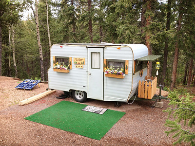 Walking around the Mueller State Park campground we came across this cute old trailer, but with modern solar panels!