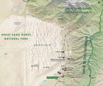 Great Sand Dune National Park is in the San Luis Valley, and it abuts Great Sand Dunes National Preserve which is mostly in the very tall Sangre de Cristo Mountains to the east and north.