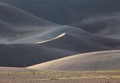 First evening's late light on the dunes.  The highest dune is 750 feet above the valley floor.