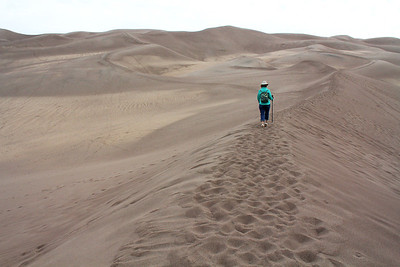 Our objective was to hike to the highest dune, 750 feet high.  As it turned out, that was much farther into the dune field than we realized, and we ended up hiking up to the 2nd highest dune, at 650 above our start.