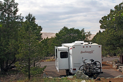 Our campsite at the Pinyon Flat Campground, with a view of the dunes through the trees.