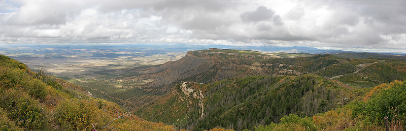 Looking north from the northern edge of the system of mesas holding Mesa Verde National Park.  Montezuma Valley in the distance.