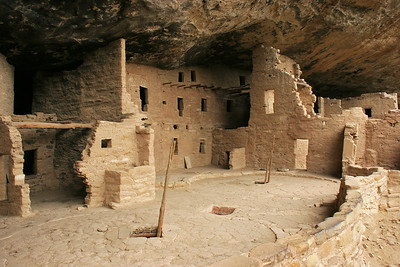The ladders lead down into two reconstructed kivas, the sacred ceremonial rooms of the Ancestral Pueblans who lived here.
