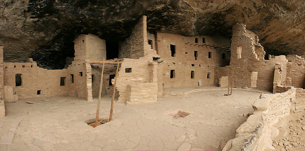 10 vertically oriented images stitched together side-by-side to capture most of the Spruce Tree House ruin in one image.  The Ancestral Pueblans lived in the area from about 600 AD to the almost 1300 AD.  Their departure was rather sudden in historical terms, and probably related to extended drought.