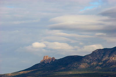 Looking north to a formation on Ute Mountain, while still waiting for our guide.