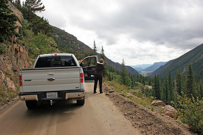 In Rocky Mountain NP we drove up Old Fall River Road, a narrow, winding, dirt one-lane affair leading from the lowest levels of the park up to the highest levels.