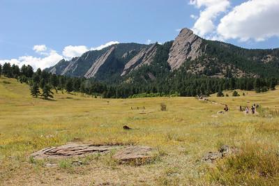 The Flatiron Range seen from Chautauqua State Park in Boulder, Colorado.
