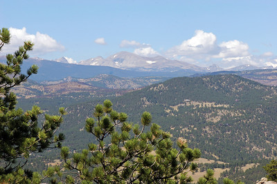 A view from up in the Flatiron Range north to some of the mountains in the vicinity of Rocky Mountain National Park where we will go for a day-trip.