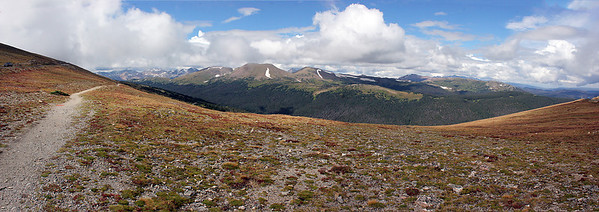 Leaving the Alpine Visitor Center, we drove back down the mountain via the famous Trail Ridge Road which, I think, is said to be the highest road in the US.  Here is a multi-image pano of a view off that road, to the west, looking at the Never Summer Range.