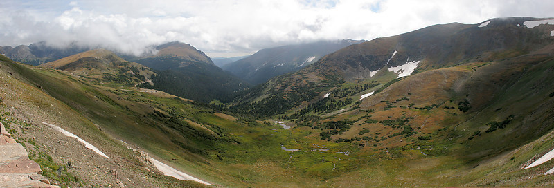 A multi-image panorama looking from the Alpine Visitor Center back down the Old Fall River Canyon that we came up.