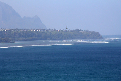 A telephoto shot of our condo as seen from Kilauea Point.
