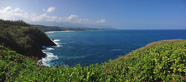 An iPhone panorama looking west from Kilauea Point, back to our condo in Princeville.