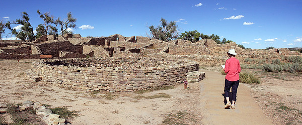 Further into the courtyard is another large kiva, only partially reconstructed.
