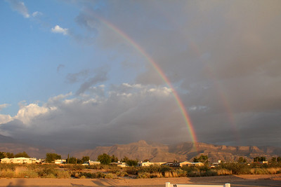 A double rainbow over Alamogordo and the Sacramento Mountains to the east.