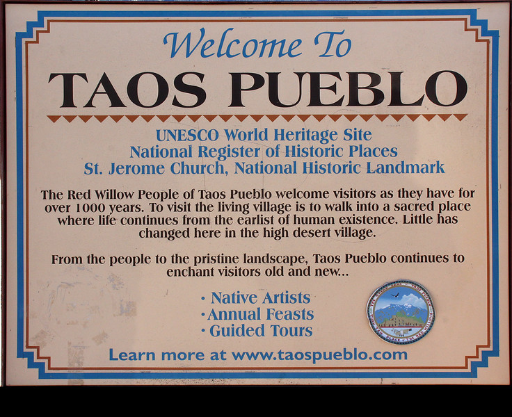 """<span style=""""color:yellow;""""> Welcome to the Pueblo (and thank you for your $18 donation per person).  </span>"""