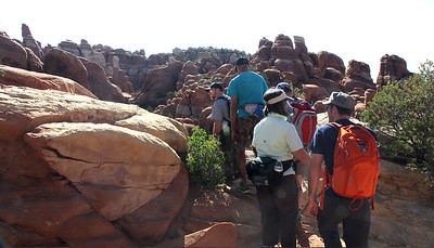 We start off on our hike into the Fiery Furnace in the company of a park ranger.