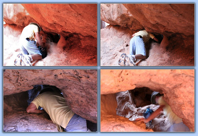 "An official ""Arch"" must have a 3-foot wide opening.  This little arch is thought to be the smallest official arch in Arches National Park.    And, yes, that is me squeezing through it, and pushing my backpack through it.  Thses shots taken by a fellow hiker."