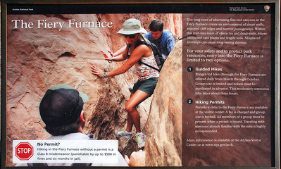 Because of some difficult passages, and because of the likelihood of getting lost, you need a special permit to enter the Fiery Furnace, and most people go in the company of a ranger guide.  Photos showing things like the scene above discouraged Teddie from going on the hike, and so Carl went alone.
