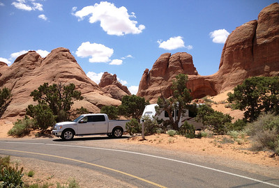Our campground site in Arches National Park.   I liked how they put you right there amid all the red rock formations.