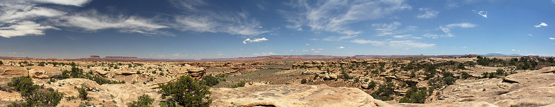 "A 10-image panorama to give you a sense of the open, rocky terrain.  This looks more or less north back toward the ""Islands in the Sky District"" of the park (see the other gallery)."
