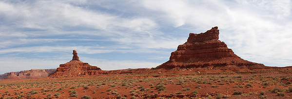 Joy Stick  (my made up name) formation at left, and Setting Hen Butte formation on the right.