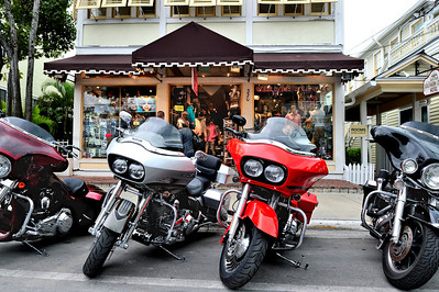 Key West Cityscape with Motorcycles