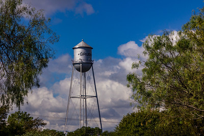 The Gruene water tower is a landmark visable throughout town
