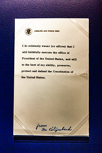 Oath of office administered on Air Force One in  Dallas, Nov 22, 1963