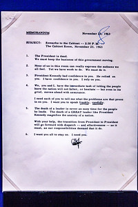 LBJ's notes for first cabinet meeting on Nov 23, 1963