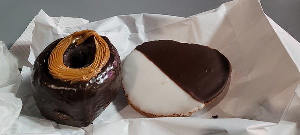 salted caramel doughnut and a black and white