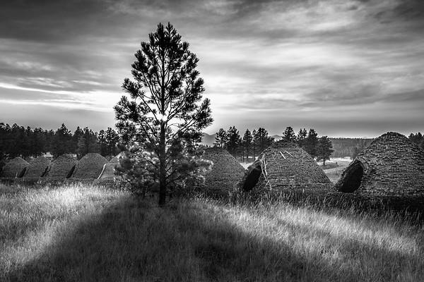 Charcoal kilns at sunset